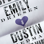 Emily and Dustin: Poster Wedding Invitation! This whole suite was tons of fun from save the dates to invitations. The back of the poster is a fun custom pattern that shows through it's vellum envelope. When taken out and unfolded you have one awesome wedding invite.