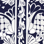 Monica and Gregory: stunning engraved, multi-language wedding invitation, edged in navy. Also shown are engraved navy with white insert pieces and a custom Mexican tile pattern liner to match hotel decor and menu in style of invitation.