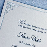 Louise and Richard: classic light blue and navy letterpress invitation with filigree corner border