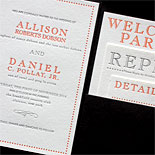 Allison and Daniel: We love the look of this grey and pumpkin modern pocket folder with bold stacked insert cards