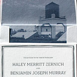 Haley and Benjamin: cloud blue foil and navy letterpress with custom illustrated liner of Brooklyn rooftop view