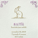 Hattie: cute bunny 2 color letterpress birth announcement