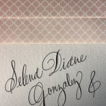Selena and Jaime: hand calligraphed letterpressed wedding invitation with an ombre patterned envelope liner