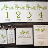 Megan and Colin: fall themed table numbers, favor tags, menu