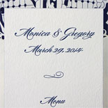 Monica and Gregory: dual language menus in navy letterpress