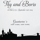 Thy and Boris: black and white wedding program featuring the Riverside Drive skyline from PostScript Brooklyn