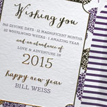 Bill: festive New Year's card in gold foil and eggplant letterpress