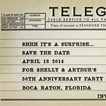 Shelly and Arthur: letterpress telegram styled anniversary party save the date