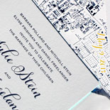 Julie and Adam: duplexed stock letterpressed with navy ink with a custom map and edged in turquoise