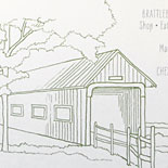Rachel and Joe: custom illustration for Vermont wedding including charming covered bridge