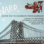 Ava and Bernard: custom illustration of Williamsburg Bridge, NYC skyline and feline aviator