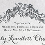 Emily and Richard: pewter letterpress wedding invitation with floral design