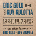 Eric and Guy: playful, font-driven invitation letterpressed on kraft paper