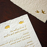 Natalie and Randy: lovely and delicate foil stamped hand made paper menu and place cards