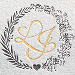 Lulu and Justin: gold foil and charcoal save the date for destination wedding in Italy with custom monogram and illustration of Tuscan villa wedding location