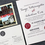 Tanya and Sebastian: 2 color letterpress wedding invitation with vintage postcard save the date