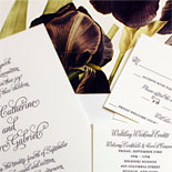Emma and Marc-one color letterpress invitation with custom floral liner