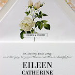 Eileen and Joseph - A graceful botanical illustration and delicate fonts digitally printed resulted in a lovely romantic July wedding invitation