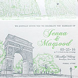 Jenna and Magsood - The Waverly Place suite from PostScript Brooklyn featuring the iconic Washington Square Park arch. Shown here with map liner and a heart balloon.