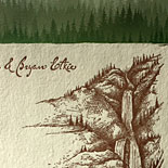 Lisa and Bryan - This stunning invitation brings together custom illustrations of Yosemite National Park and a forest liner and handmade, deckle edged paper