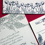 Lucile and Steven - a lovely and graceful garden illustration letterpressed in two colors make for a romantic summer wedding invitation