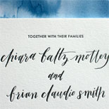 Chiara and Brian - Absolutely love the gorgeous azure watercolor liner and the slyly angled Seatle, WA on this invitiation