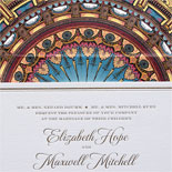 Elizabeth and Maxwell - A marvelous collection featuring custom art by Victoria Neiman Illustration including the grand statement of the venue's dome on the liner and repeated on wedding day stationery