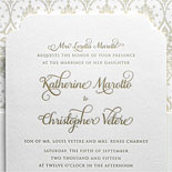 Katherine and Christopher - a lovely example of a die cut invitation with matte gold foil and a patterned liner to match the other invitation pieces