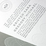 Kristen and Gregory - A celebration of patterns and textures featuring white foil, letterpress and a shimmer liner
