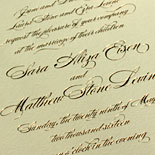 Sara and Matthew - Classic wedding invitation on triple ply ecru stock with copper foil