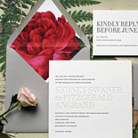 Sydney and Fitzgerald - love the bursting pop of color from the floral liner, edge painting and the always glorious texture of deeply letterpressed paper