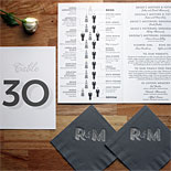 Rachel and Michael - How fun is this infographic program? Shown with silver foil stamped cocktail napkins, coordinated table number and menu