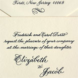 Elizabeth and Jacob - The gorgeous calligraphy of Laurel Hansen was printed in navy lettepress on ecru card stock with a gold painted edge