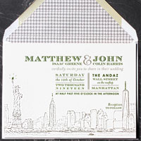 South Ferry: wedding invitations exclusively from PostScript Brooklyn
