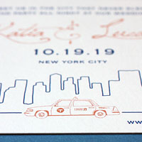 Waterfront Terrace: wedding invitations exclusively from PostScript Brooklyn