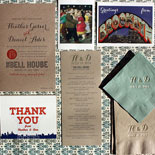 Heather and Daniel: Fun Brooklyn inspired wedding suite. Invitation is letterpressed in charcoal and persimmon and has postcard themed insert cards. Invitation suite is shown here with Brooklyn inspired thank you card, digitally printed program and foil stamped napkins.