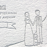 Meghan and Ryan: 2 color letterpress whimsical Chicago skyline illustration
