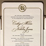 Caitlyn and Nicholas: Gorgeous gold foil and navy letterpress wedding suite featuring a custom monogram designed in house by one of our illustrators. All topped off with rounded corners and a gold liner. Shown with gold foil save the date.